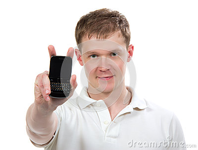 Man showing display of new touch mobile cell phone