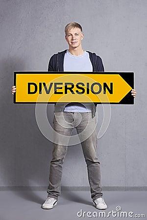 Free Man Showing Diversion Sign. Stock Photos - 28588723
