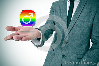 Man showing a gay male app icon