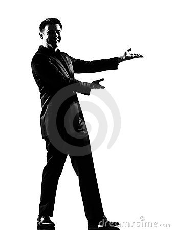 Man  showing gesture introducing presentation