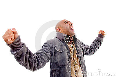 Man showing happiness and wearing winter clothes