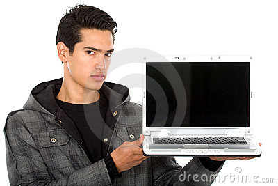 Man showing a laptop computer