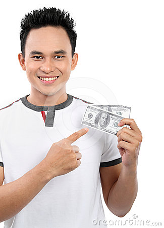 Man showing  money