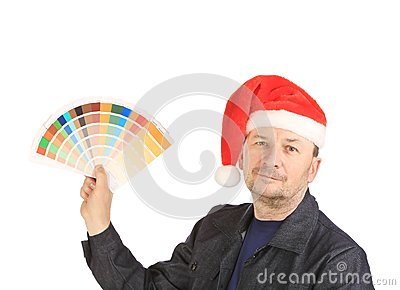 Man showing some color samples
