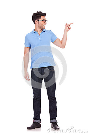Man showing something to the left side