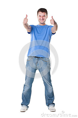 Man showing thumbs up with both hands