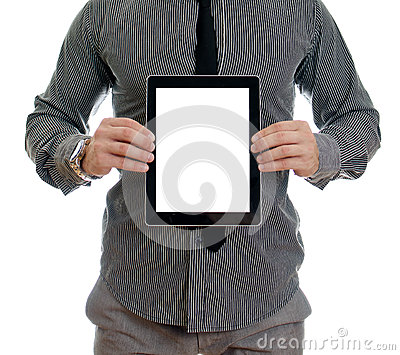 Man showing touch screen tablet pc