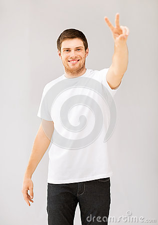 Man showing victory or peace sign
