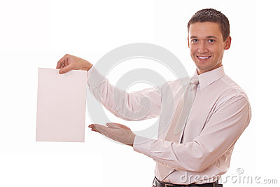 Man shows on blank paper