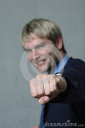 Man shows clenched hand