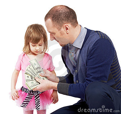 Free Man Shows Dollar Notes Opened As Fan To Girl Stock Photos - 20004953