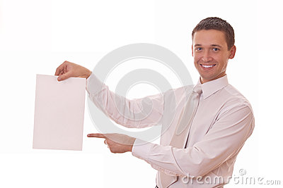 Man shows finger on blank paper