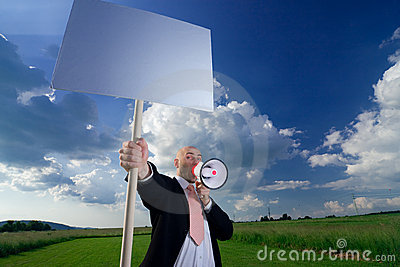 Man with sign and megaphone