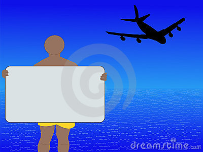 Man with sign and plane