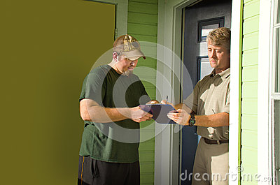 Man signing door-to-door survey or petition