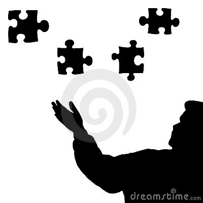 Man silhouette  puzzle pieces black