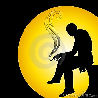 Free Man Silhouette Smoking Alone Stock Images - 4202084