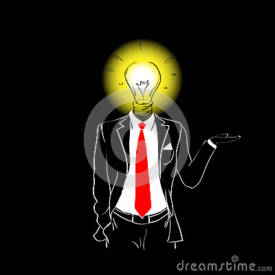 Free Man Silhouette Suit Red Tie Light Bulb Head New Idea Royalty Free Stock Image - 70123636