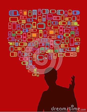 Man silhouette talking