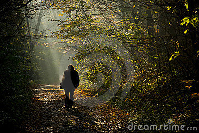 Man silhouette walking on the autumn