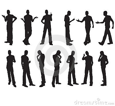 Man silhouettes in vector