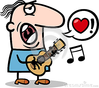 Man singing love song for valentines day