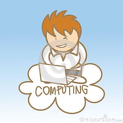 Man sit on cloud computing