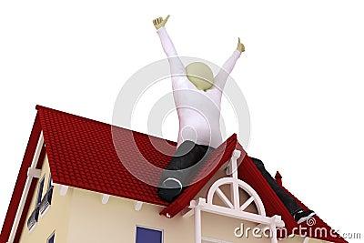 Man sit on roof
