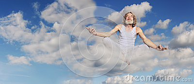 Man sits in lotus position on cloud