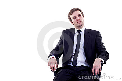 Man sits in office chair