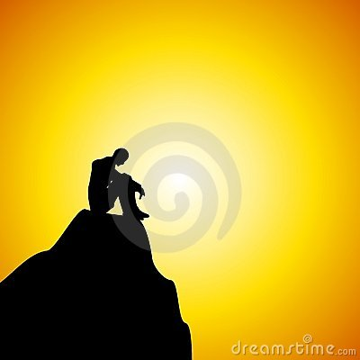 Free Man Sitting Alone On Mountain At Sunset Royalty Free Stock Photos - 4105948