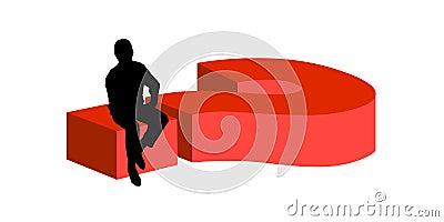 Man sitting on big question mark