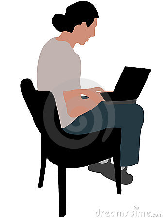 Man sitting on chair with laptop