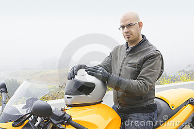Man sitting on his motorcycle