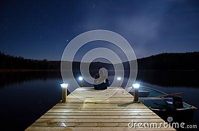 Man sitting on jetty