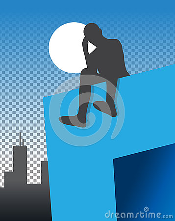 Man Sitting On Ledge At Night Illustration