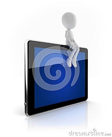 Free Man Sitting On Blue Tablet Stock Image - 22028121