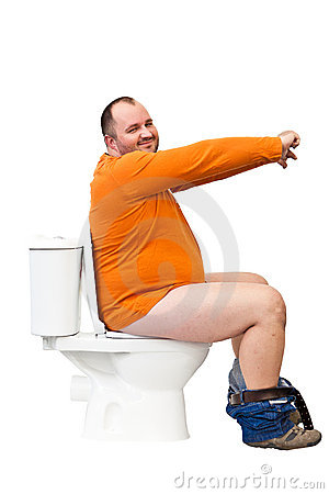 Free Man Sitting On Toilet With Uplifted Hands Royalty Free Stock Image - 22703226