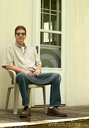 Man sitting on a porch