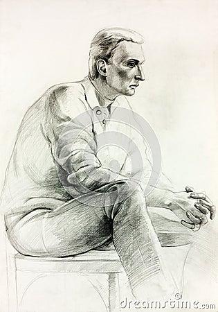 man sitting sketch royalty free stock image image 26867586. Black Bedroom Furniture Sets. Home Design Ideas