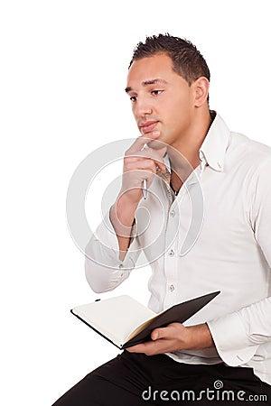 Man sitting thinking deeply
