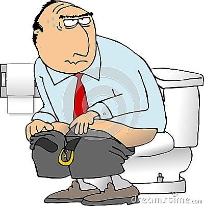 Man sitting on a toilet