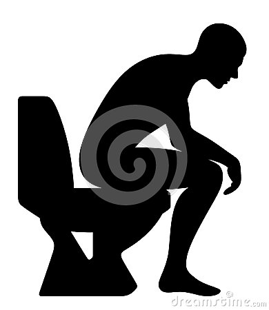 Man sitting on the toilet