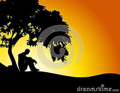 Man Sitting Under Tree Sunset