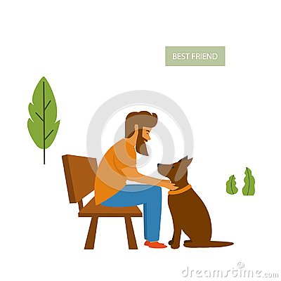Free Man Sitting With His Dog On The Bench In The Park Stock Photos - 123552473