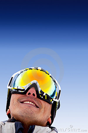 Man with ski goggles