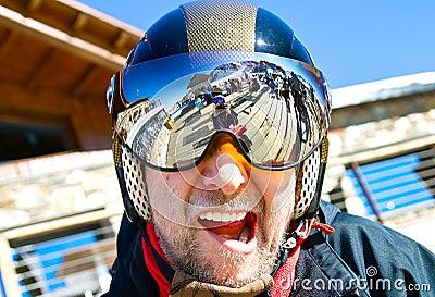 Man in ski helmet