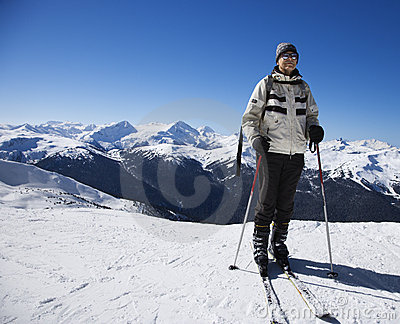 Man on ski slopes.