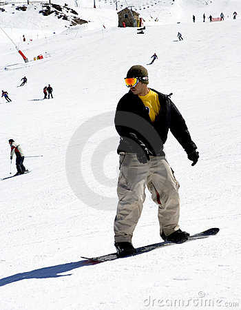 Man on ski slopes of Pradollano ski resort in Spain