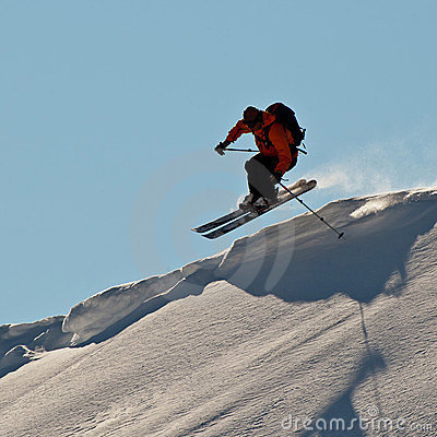 Man skiing in Caucasus mountains